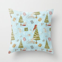 From Mice And Christmas - Cute teal X-Mas Pattern Throw Pillow