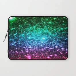 glitter Cool Tone Ombre (green blue purple pink) Laptop Sleeve