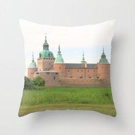 Watercolor Architecture, Kalmar Castle 02, Swedish Slott Throw Pillow