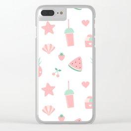 summer pattern with watermelon, pineapple, ice cream, heart, starfish, cherry, strawberry, shellfish Clear iPhone Case