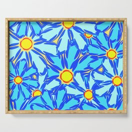 Abstract daisies. Background of blue and white flowers. Serving Tray