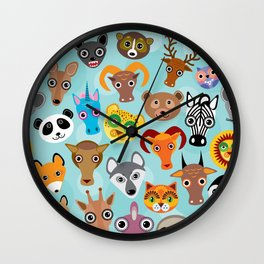 Seamless pattern cute face funny animals on blue background. Vector Wall Clock