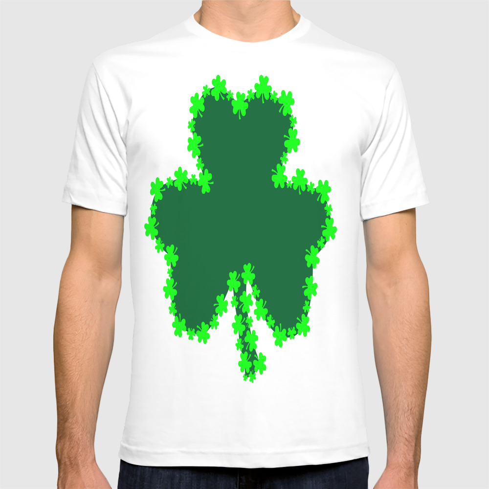 Shamrock With Shamrock Outline T-shirt by Silvermaiden1 TSR8817435