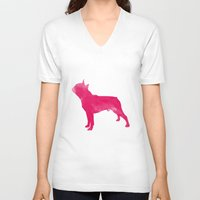 boston terrier V-neck T-shirts featuring Boston Terrier by Three Black Dots