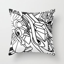 Adult coloring abstract lineart Throw Pillow