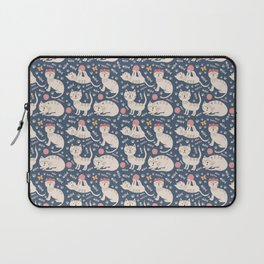 Cute pink brown blue hand painted floral cats Laptop Sleeve