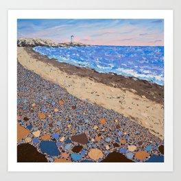 Seaside Popples with Lighthouse Art Print
