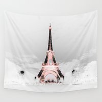 paris Wall Tapestries featuring pariS Black & White + Pink by 2sweet4words Designs