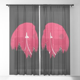 The Mission - Space - Rocket Ship - Rocketship Sheer Curtain