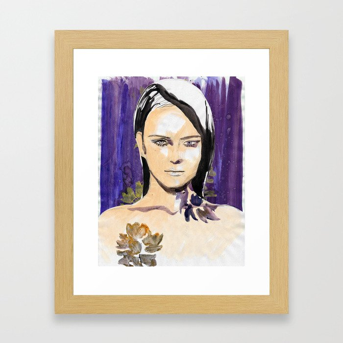 Purple beauty fashion lllustration Framed Art Print