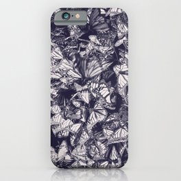 Indigo butterfly photograph duo tone blue and cream iPhone Case