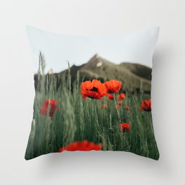 Poppies popping at Chautauqua Park Throw Pillow