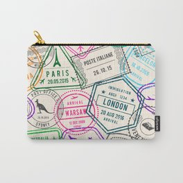 Passport to Adventure Vintage Style Travel Stamps Pattern Carry-All Pouch
