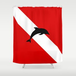 Diving Flag: Dolphin Shower Curtain