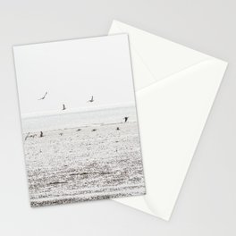 Seagulls fly over a beach in Normandy Stationery Cards