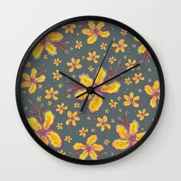 Yellow Flowers on Gray Wall Clock