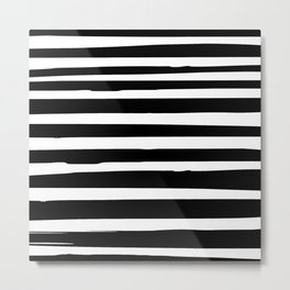 Black and White Stripes Abstract Modern Metal Print