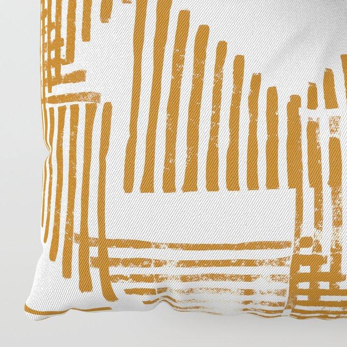 Stripe Triangle Block Print Geometric Pattern in Orange Floor Pillow