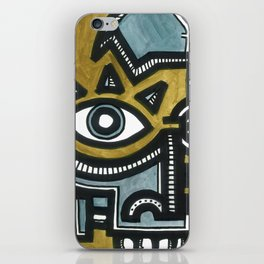 Blue and Gold Face iPhone Skin