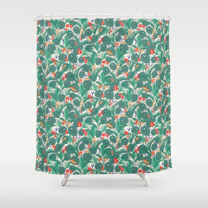 Tropical Frogs in the Jungle - Cream Shower Curtain