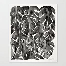 Split Leaf Philodendron - Black Canvas Print