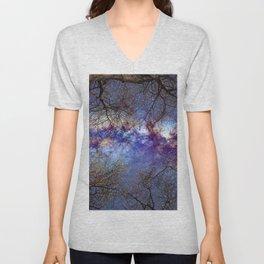Fantasy stars. Milkyway through the trees. Unisex V-Neck