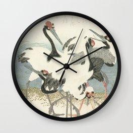 Cranes on the Water by Kubota Shunman, 1816 Wall Clock