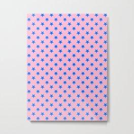 Brandeis Blue on Cotton Candy Pink Stars Metal Print