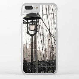 New York City's Brooklyn Bridge - Black and White Photography Clear iPhone Case
