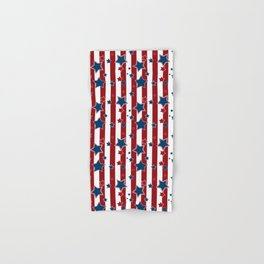 Blue stars, red striped Hand & Bath Towel