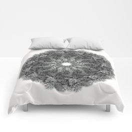 Black and White Succulent Mandala Comforters