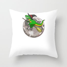 Witch Trex Moon, It's Show Time Funny Halloween Horror Scary Throw Pillow