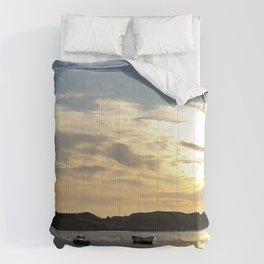 Sunset over Lancashire sea fishing boats  Comforters