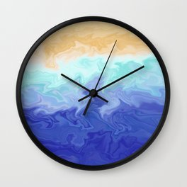 Seascape Liquefied Layers Coastal Summer Abstract Digital Painting Wall Clock