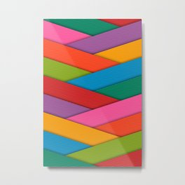 Abstract Colorful Decorative 3D Striped Pattern Metal Print