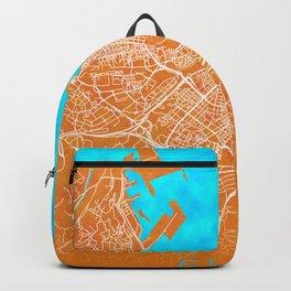 Gijon, Spain, Gold, Blue, City, Map Backpack