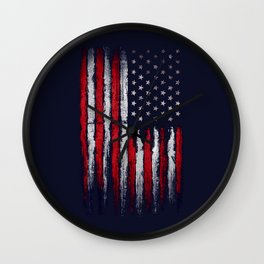 Red & white American flag on Navy ink Wall Clock