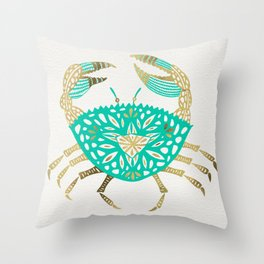 Crab – Turquoise & Gold Throw Pillow