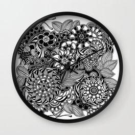 Taman Sari #2 black and white doodle art Wall Clock
