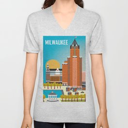Milwaukee, Wisconsin - Skyline Illustration by Loose Petals Unisex V-Neck