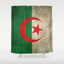 Old and Worn Distressed Vintage Flag of Algeria Shower Curtain