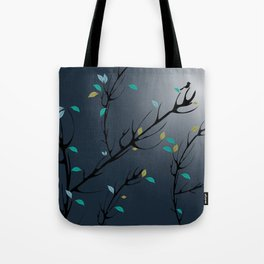 Nightingale singing in the night sky under the moonlight Tote Bag