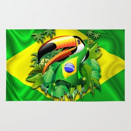 Toco Toucan with Brazil Flag Rug