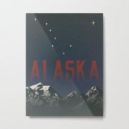 Alaska Travel Poster: Vintage Alaska State Wall Art Metal Print