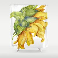 sunflower Shower Curtains featuring Sunflower by Cindy Lou Bailey