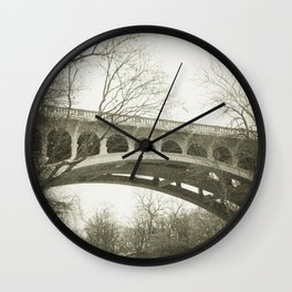 Vintage Retro Rustic Sepia Toned Bridge with Framing Tree Wall Art Lustre Print OR Framed Print Wall Clock