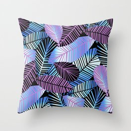 Silver Blue Pink Leaves Throw Pillow