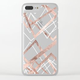 Rose Gold White Linear Triangle Abstract Pattern Clear iPhone Case