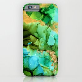 Green And Turquoise Aqua Mermaid Alcohol Ink iPhone Case