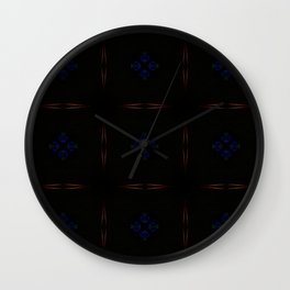 Black and Red Pattern with Purple Floral Insets Wall Clock
